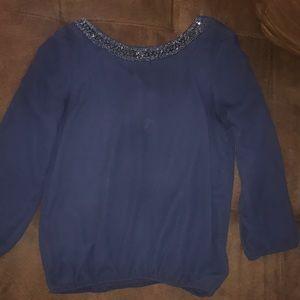 Navy blue embellished blouse